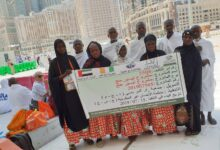 """Photo of Part of """"Facilitating Hajj"""" campaign 11 pilgrims dispatched  83.112 thousand Beneficiaries from 21 countries, benefited from the sacrifices and Eid clothing projects"""