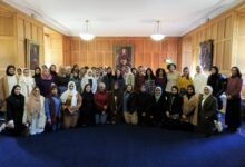 Photo of Al-Maktoum College students on Academic Training Programme attend lecture in historic St Andrews building