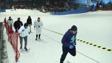 Photo of 46 جنسية من المقيمين والسائحين يشاركون في الجري الثلجي