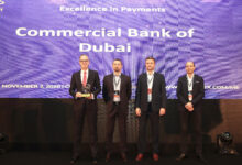 "Photo of Commercial Bank of Dubai recognized with ""Excellence in Payment"" at the 2020 Finnovex Awards"