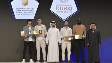 Photo of Mansoor bin Mohammed welcomes participants to Dubai International Sports Conference
