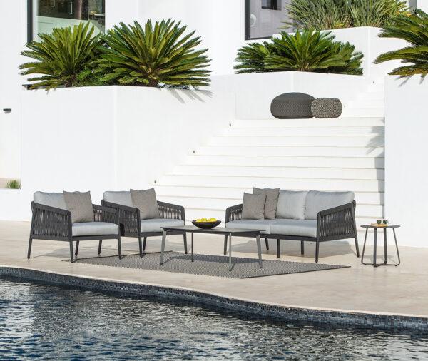 praktisch comfortabele loungeset ritz aluminium jati&kebon
