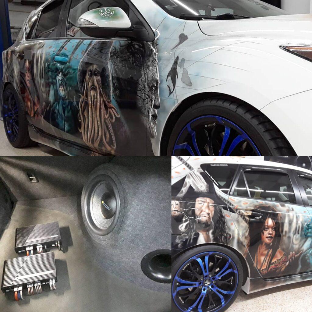 Mazda 3 mit Eton Endstufen und Subwoofer im Eigenbaugehäuse
