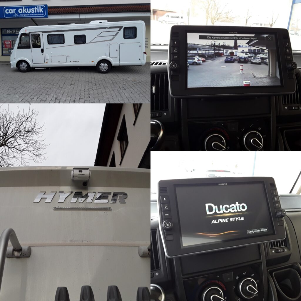 Hymer Wohnmobil mit Alpine Radio und Rückfahrkamera