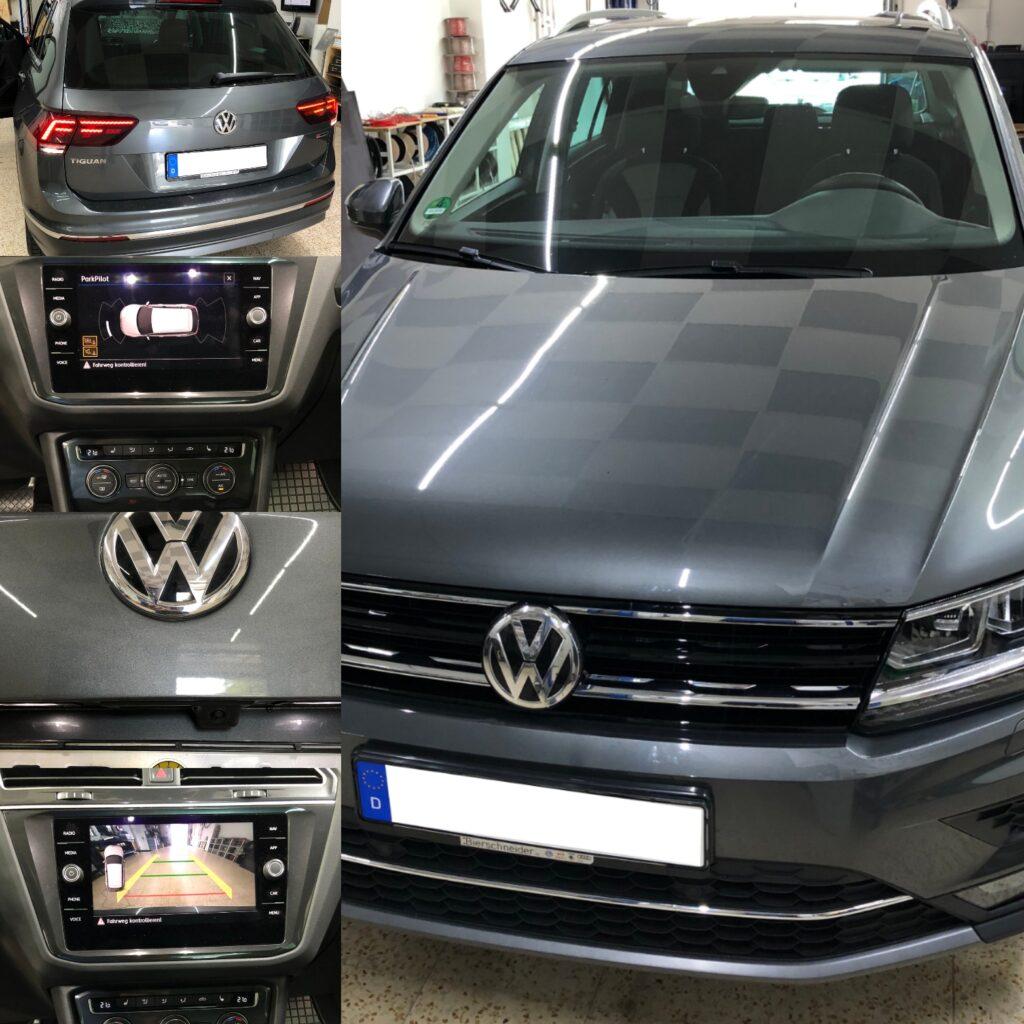VW Tiguan AD1 mit Rückfahrkamera auf originale Radioeinheit