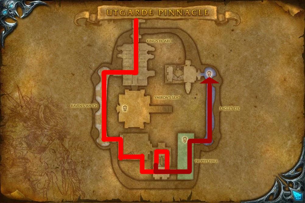 Map of Utgarde Pinnacle leading to Skadi the Ruthless