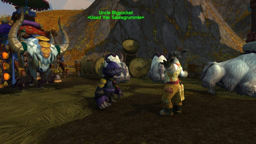 Uncle Bigpockets is the vendor who sells the Blonde Riding Yak