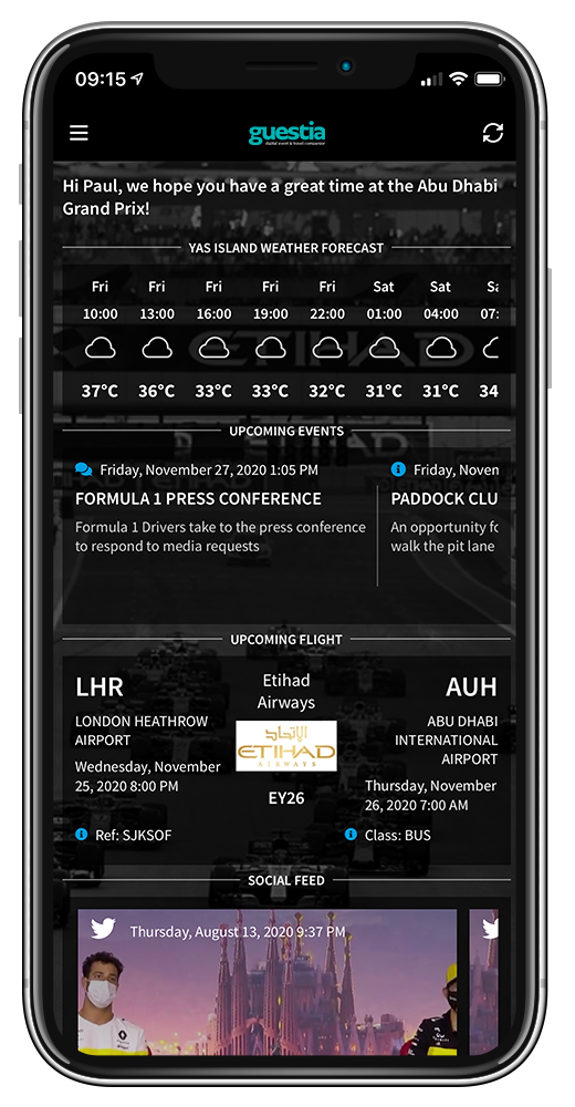 Guestia app home screen