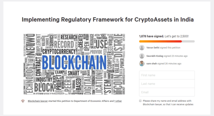 Petition for Implementing Regulatory Framework for CryptoAssets in India