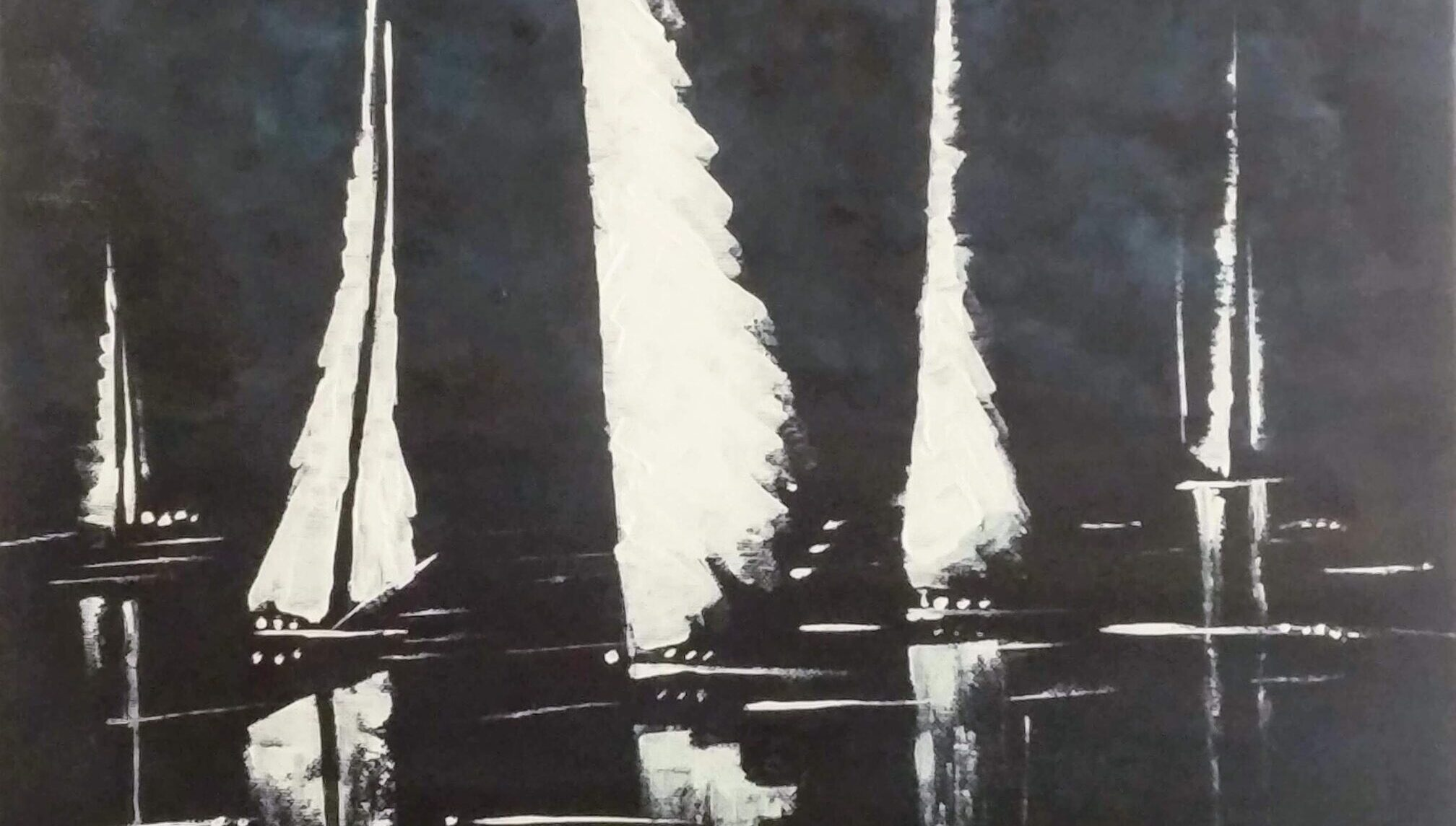 Painting of sail boats by Sucheta Jadhav for India's first solo circumnavigator Dilip Donde