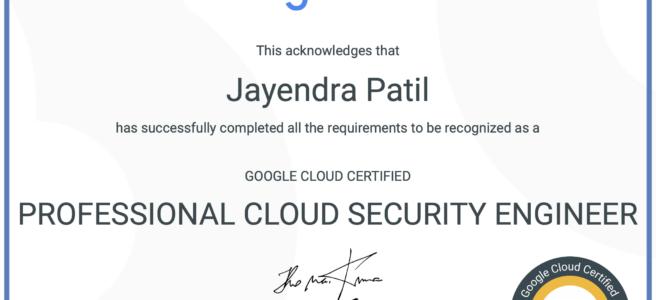 GCP - Professional Cloud Security Engineer Certificate