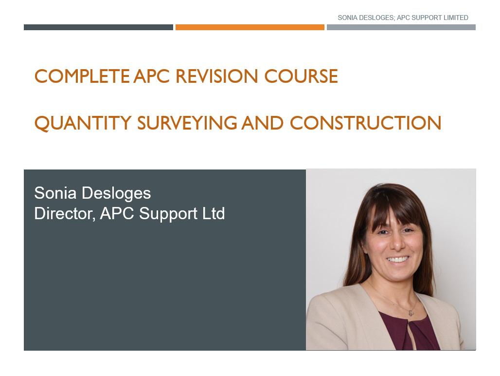 APC Quantity surveying revision