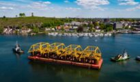Subsea templates of the Snorre Expansion Project sail away from Tønsberg