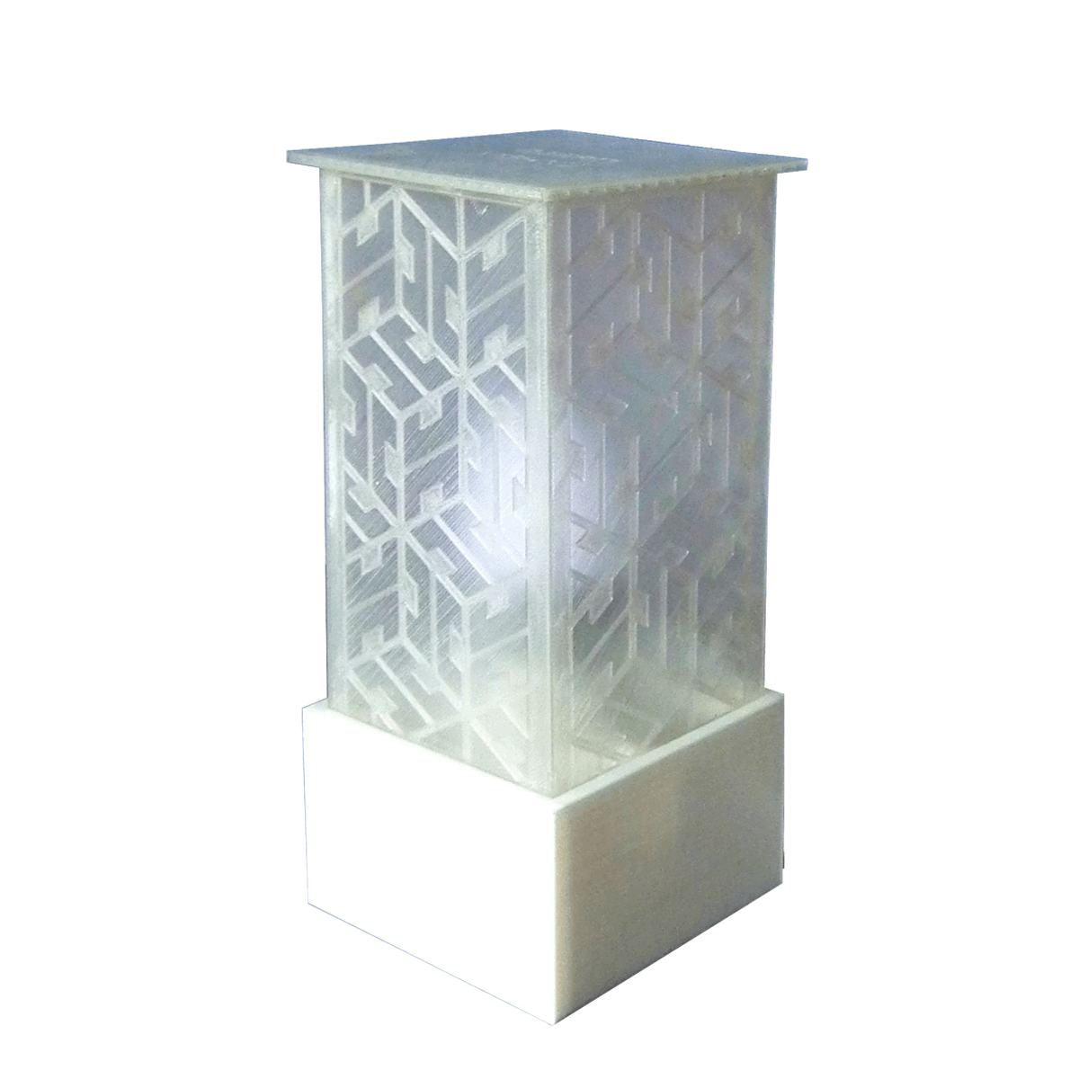 3D Printed Lamp with 3D Squares