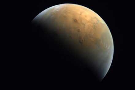Sunlight across the surface of Mars, taken from the UAE's Hope probe