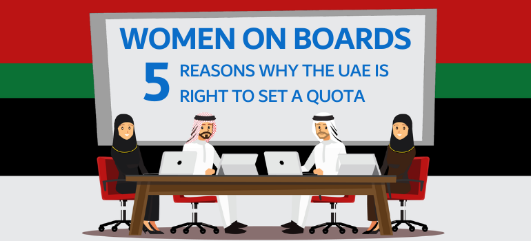 Vector blog banner depicting a gender balanced board room