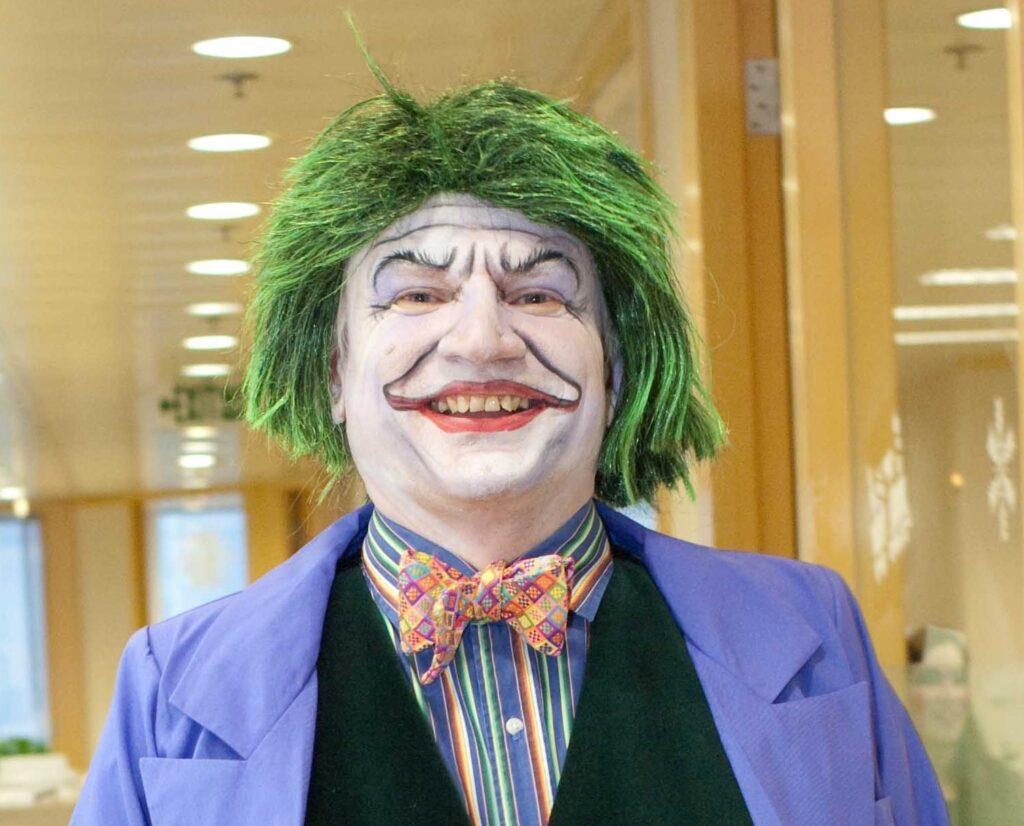 Shows my playful Joker face