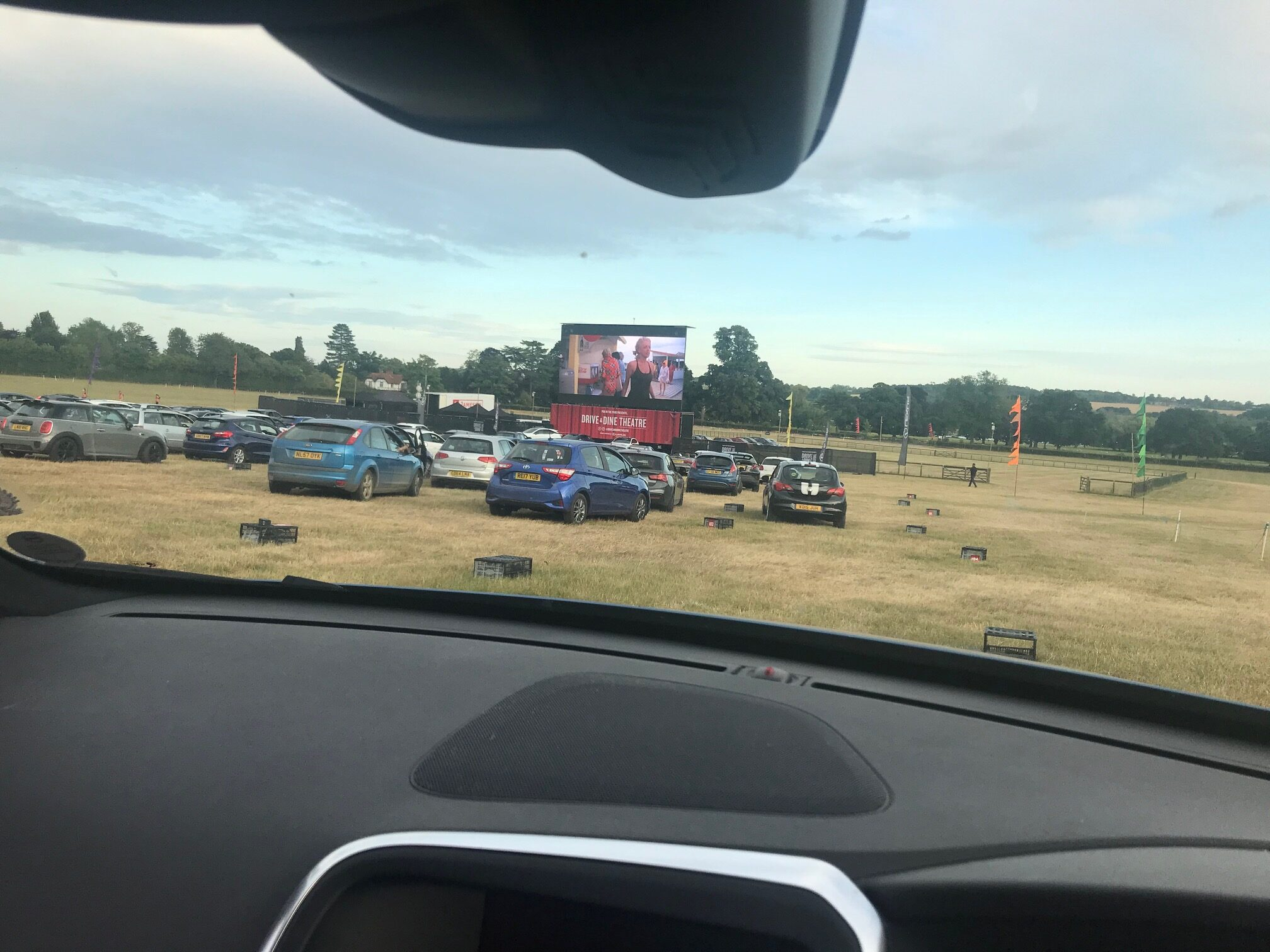 drive-in movie, view of the big screen for Jaws