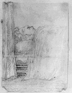 A sketch of Queen Caroline on her deathbed, courtesy of the Trustees of the Chatsworth Settlement
