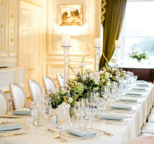 A table set for dinner at Fetcham Park House