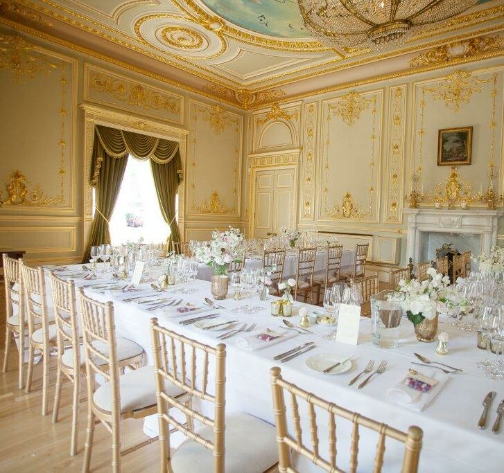 A table set for an event at Fetcham Park House
