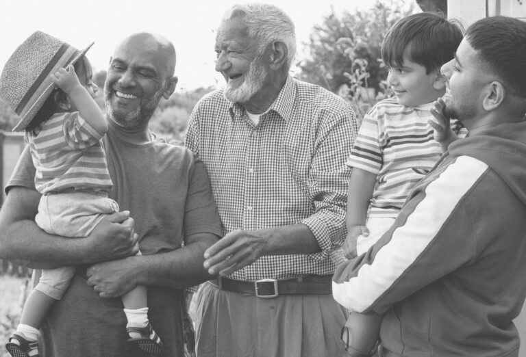 Different generations of a British South Asian family