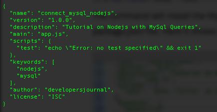 MySql Package.JSON file
