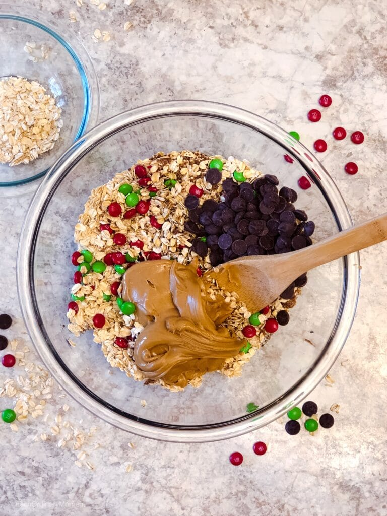 A bowl full of the ingredients for Easy Cinnamon, Flax, and Dark Chocolate Festive Energy Bites