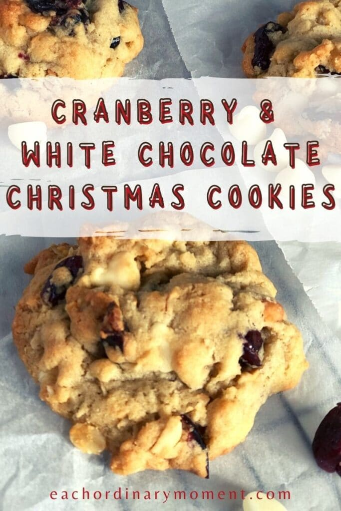 Cranberry White Chocolate cookies on a plate