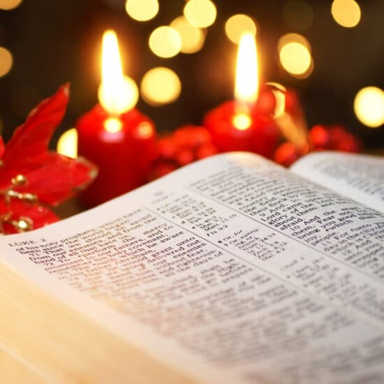 An open Bible tells us of the birth of Christ.