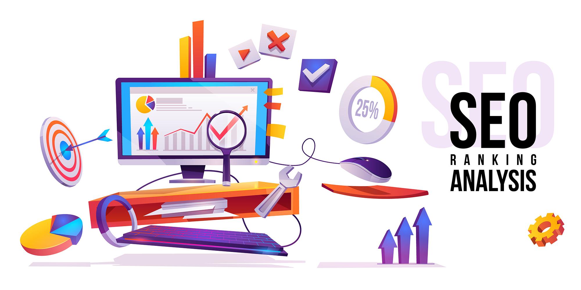 SEO ranking analysis internet technology banner