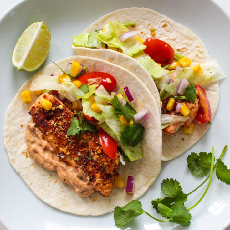 Spiced Salmon Tacos with Chipotle Lime Crema