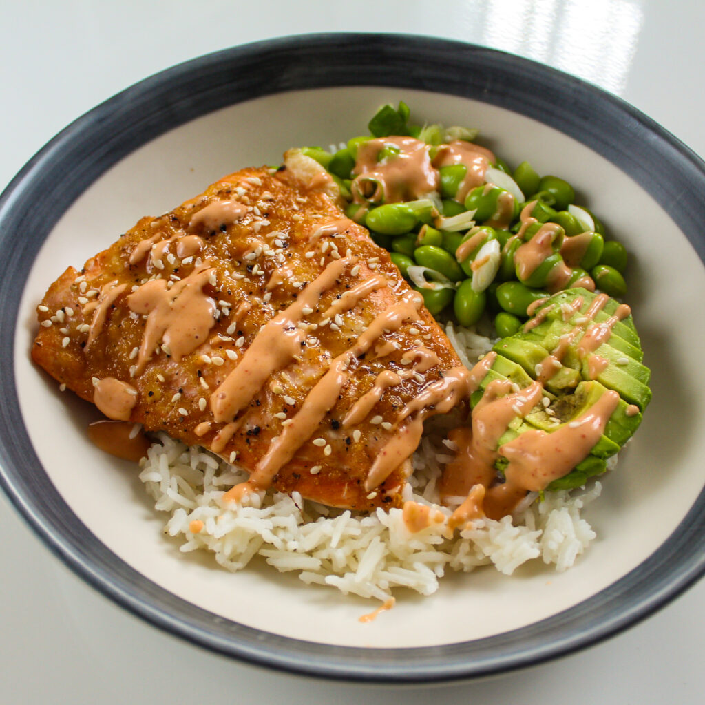 Salmon Sushi Bowl with Edamame Beans and Avocado