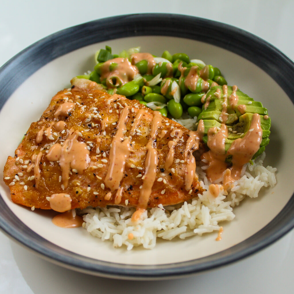 Salmon Sushi Bowl with Edamame Beans and Avocado. Alternate View.