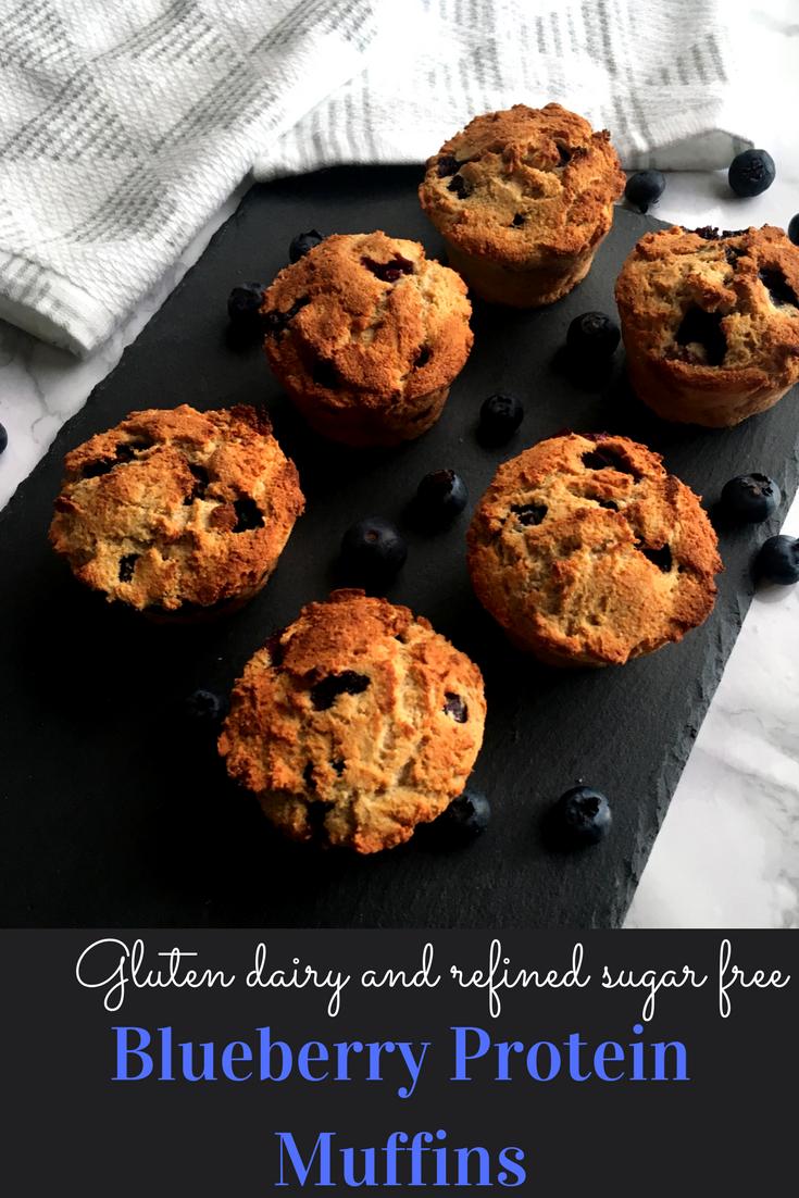 Gluten dairy and refined sugar free blueberry protein muffins