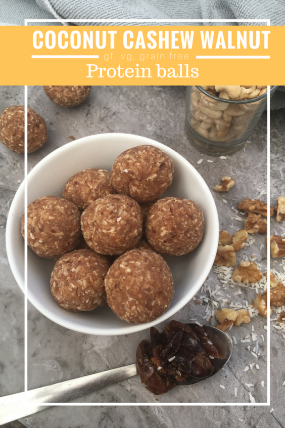Coconut cashew walnut protein balls (gf,vg,grain free)