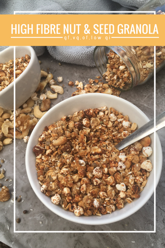 Vegan high fibre nut and seedgranola (GF,OF & Low GI)