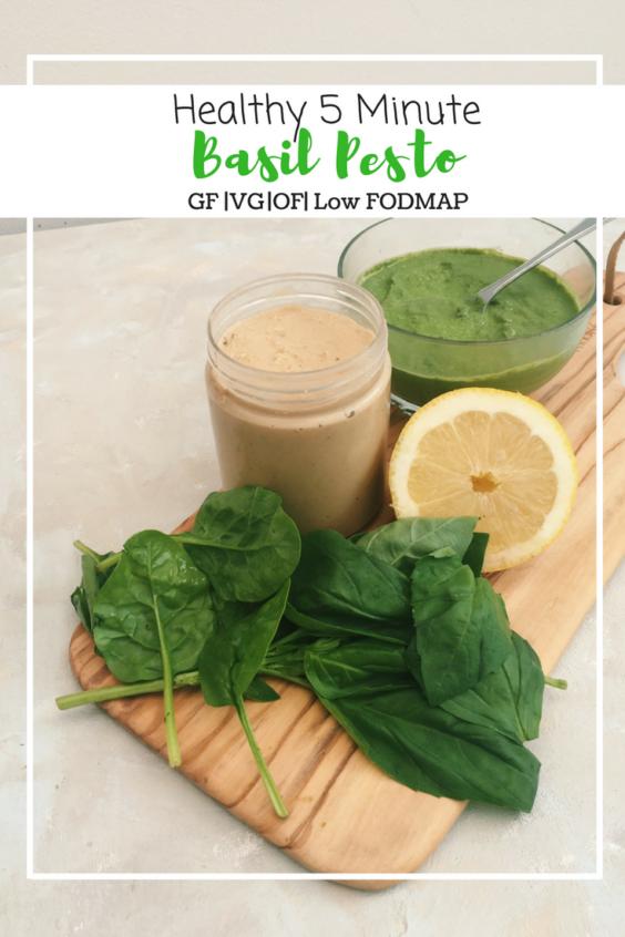 Healthy 5 Minute Basil Pesto (GF, VG, OF, Low FODMAP)
