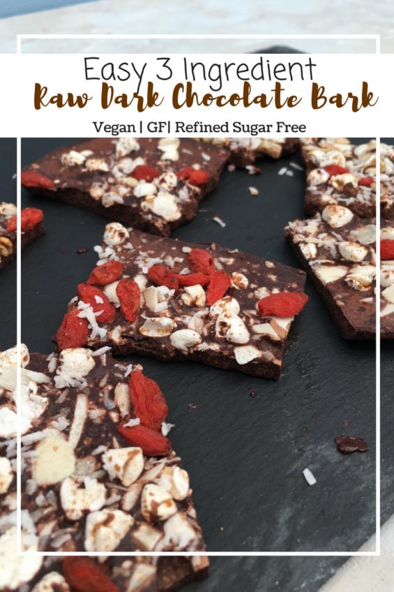 Raw Dark Chocolate Bark (VG, GF, Refined Sugar Free)