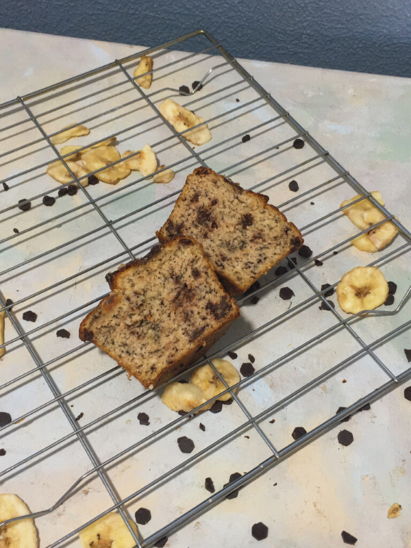 two halves of a banana bread muffin
