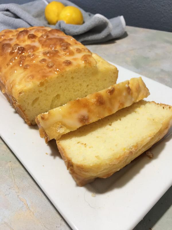 Sliced lemon drizzle loaf
