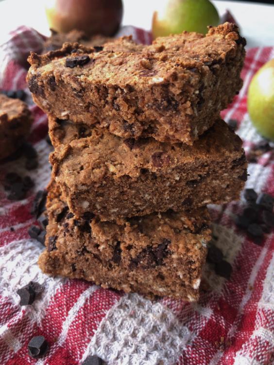 Apple Spice Chocolate Chip Breakfast Bars (Gluten Free, Dairy Free, Vegan Option)