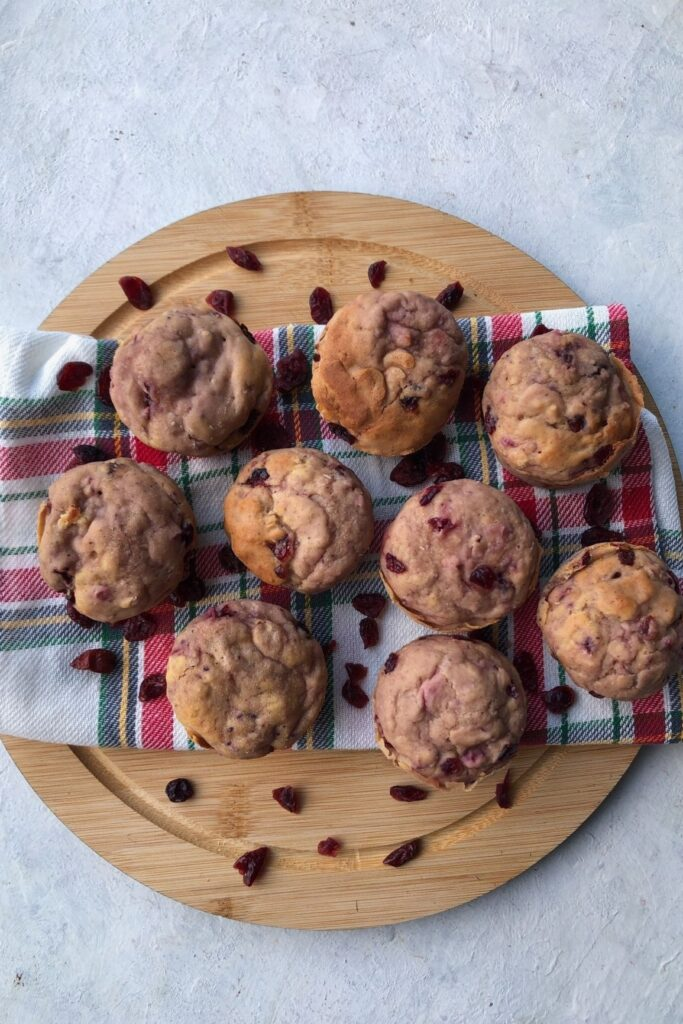 cranberry sauce muffins on a wooden board