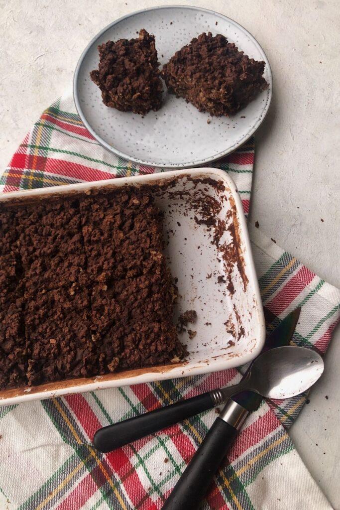 chocolate baked oatmeal flatlay