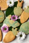 assortment of marbled easter sugar cookies with flowers