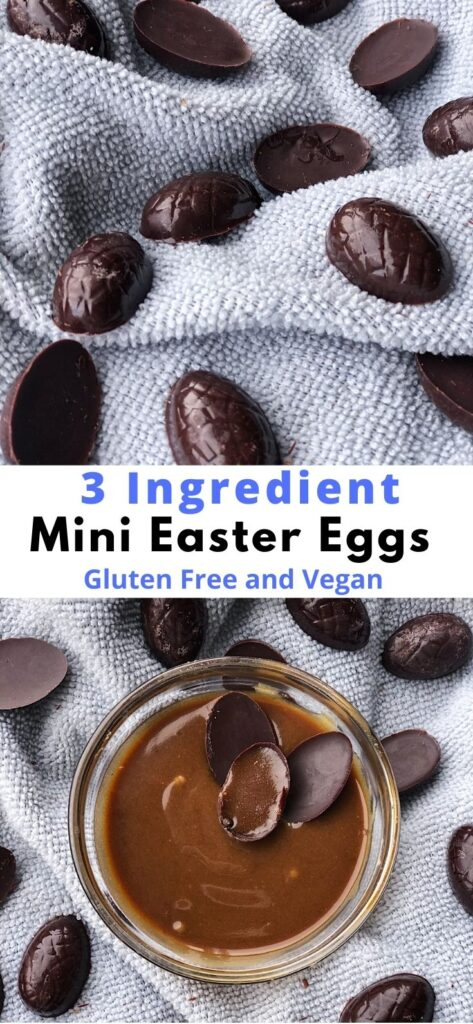 two pictures of mini easter eggs with vegan caramel