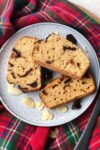 slices of chocolate cherry bakwell loaf