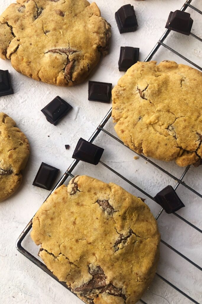 3 chocolate orange cookies with chocolate chunks