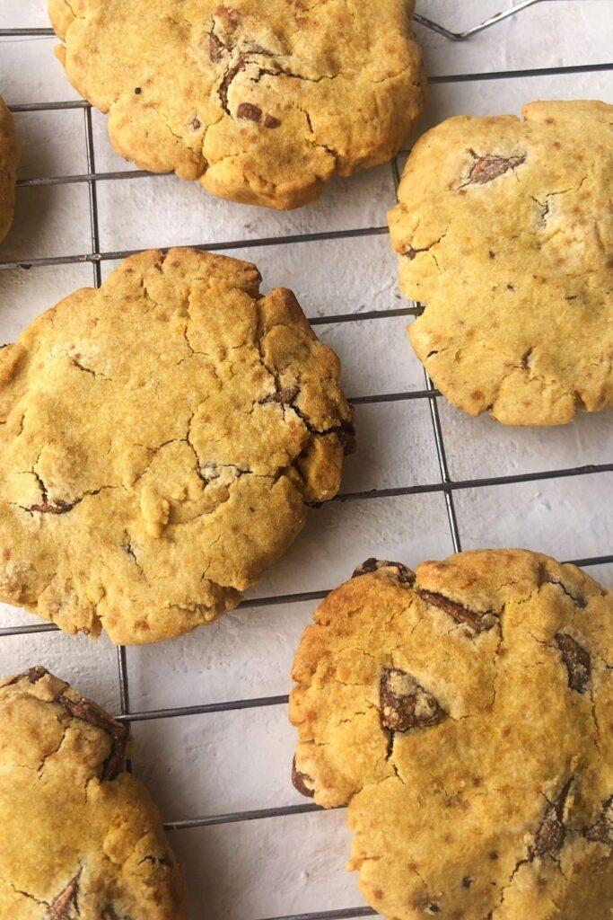 close up of chocolate orange gluten free cookies