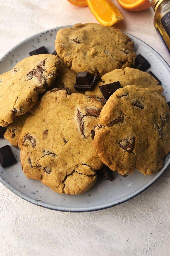 plate of chocolate orange gluten free cookies